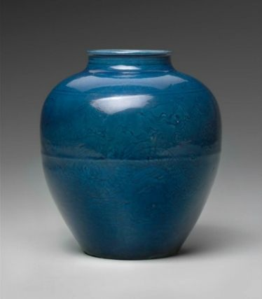 Jar with incised decoration of two dragons over blue glaze ground. Chinese, Ming dynasty, Jiajing period, 1521–66. Porcelain, Jingdezhen ware. Height: .154. Gift of Mr. and Mrs. George Washington Wales. 95.680 © 2012 Museum of Fine Arts, Boston