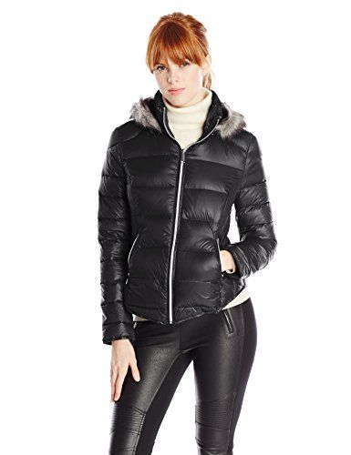 BCBGeneration Women's Diamond Quilt Down Coat with Hood, Black, Medium - http://womenswintercoats.hzhtlawyer.com/bcbgeneration-womens-diamond-quilt-down-coat-with-hood-black-medium/