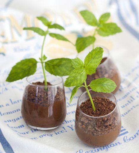"""Minttusuklaamousse. Perinteinen suklaamousse piristyy kummasti, kun annostelet sen laseihin ja tökkäät niihin vielä mintunoksat """"kasvamaan"""". / Chocolate mousse with mint."""