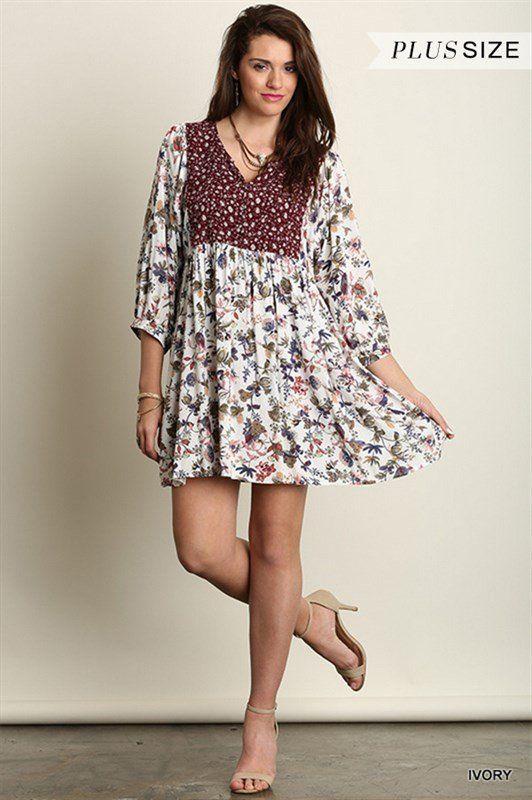Plus Size Mini Dress / Tunic Boho Peasant Burgundy Ivory Floral XL