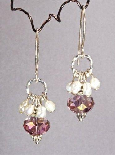 Freshwater Pearl and Swarovski Crystal Earrings   adora_by_simona - Jewelry on ArtFire