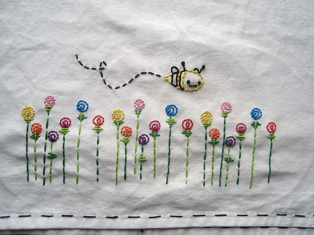 Bee Happy  #embroidery