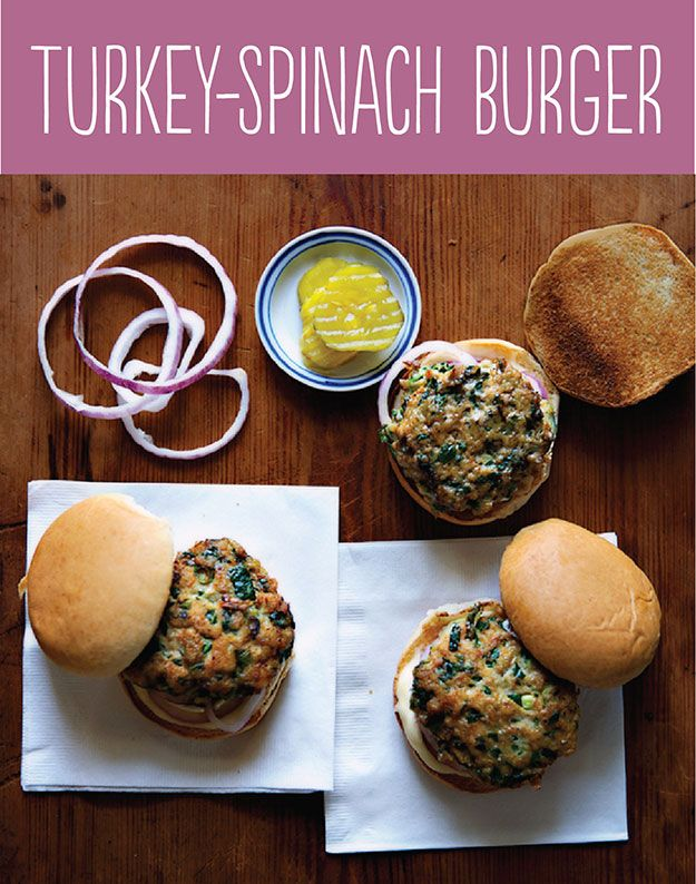 Tasty Hamburger Alternatives That Are Actually Good For You: Turkey-Spinach Burger.