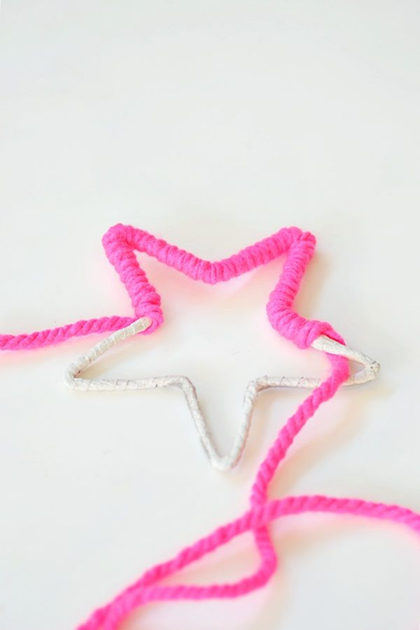 very simple craft for kids, shape wire into star, heart and other shapes and wrap in wool -may have to cover join with masking tape to prevent injury