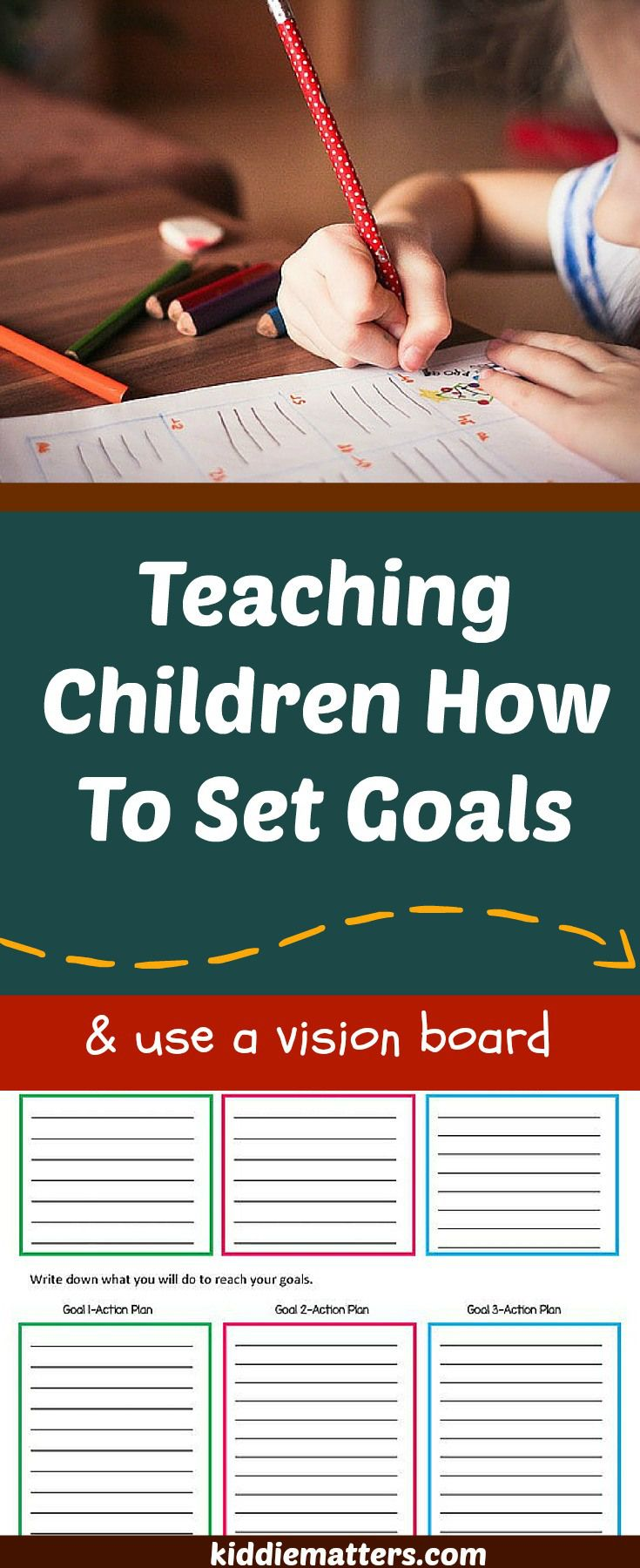 Teaching Kids to Set Goals with Free Printable!!   One way that parents and teachers can help develop children's executive functioning skills is to teach them how to set goals.  Making a vision board is a fun activity you can use to help kids set goals  Also included in this article is a free printable goals worksheet that can be used at home and at school.