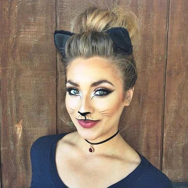 Beautiful Cat Halloween Makeup Look...back up costume?                                                                                                                                                                                 More