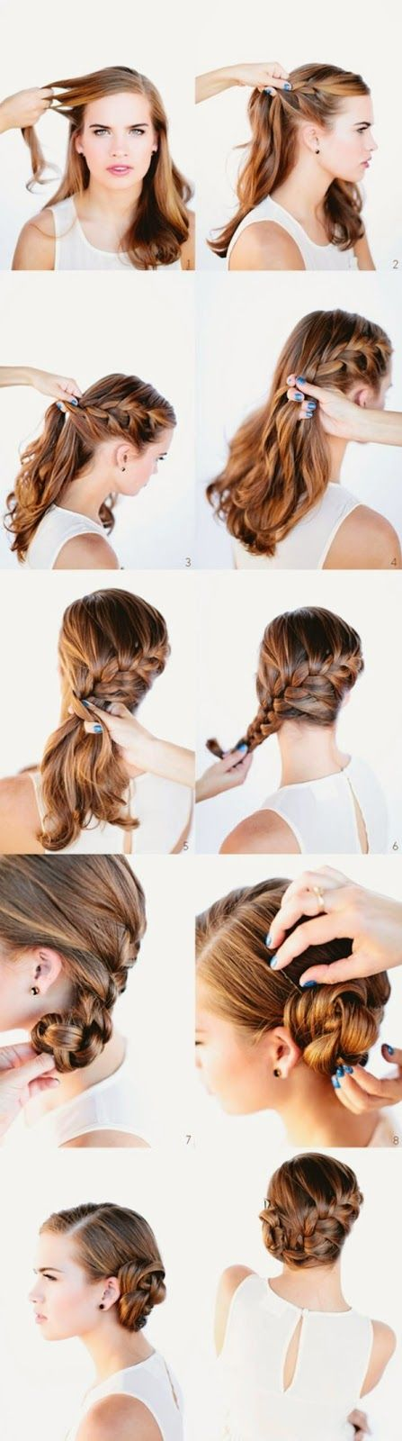 French braid into a bun step by step tutorial. Starting the Side French Braid. Grab a section from...