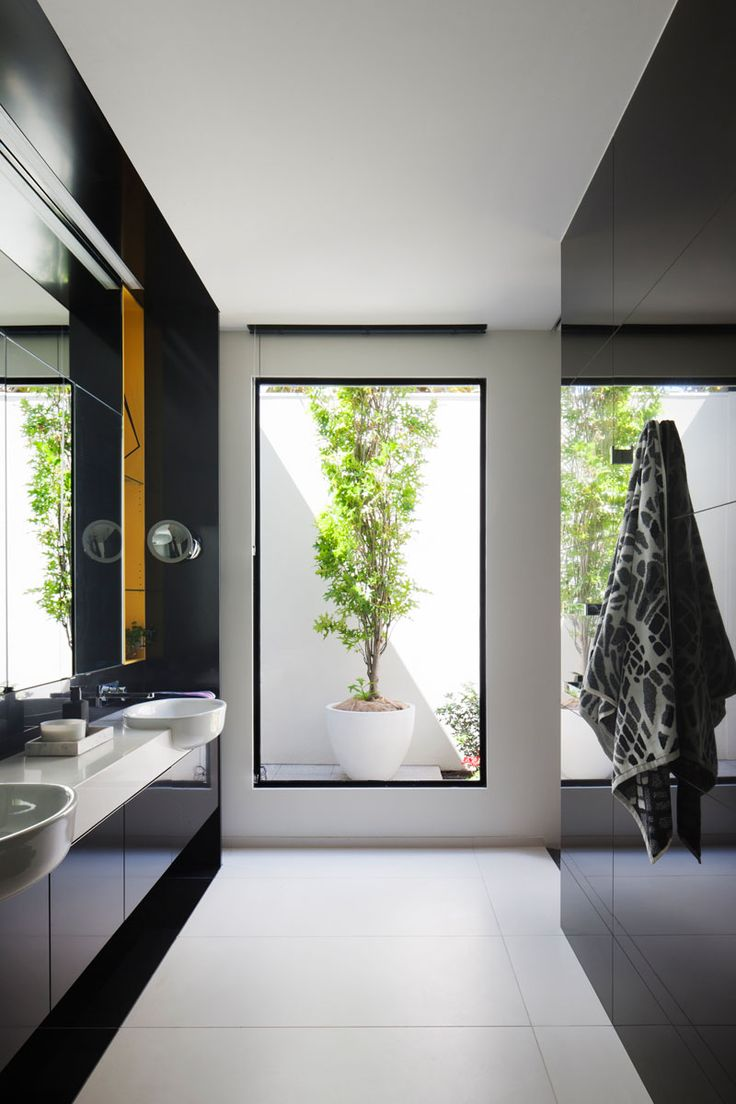 Modern master bathroom - Crescent Shapes And Bright Colors Feature In This Architect S Home Modern Master Bathroommaster