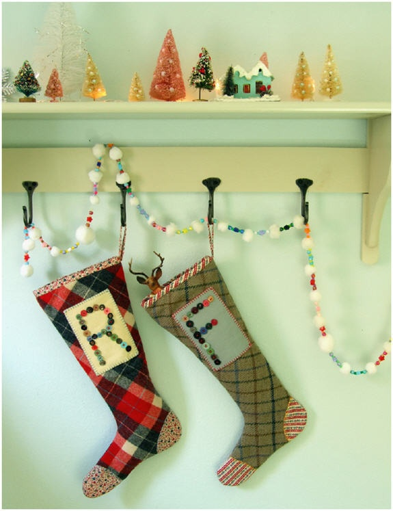 Monogrammed Stocking. I like the idea of hanging stockings like this.