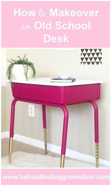 How to Makeover an Old School Desk, the easy way, using spray paint. #DIY #SprayPaint #BehindtheBigGreenDoor