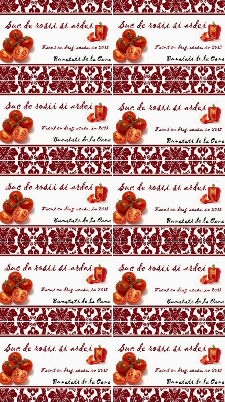 Etichete borcane - suc de rosii si ardei