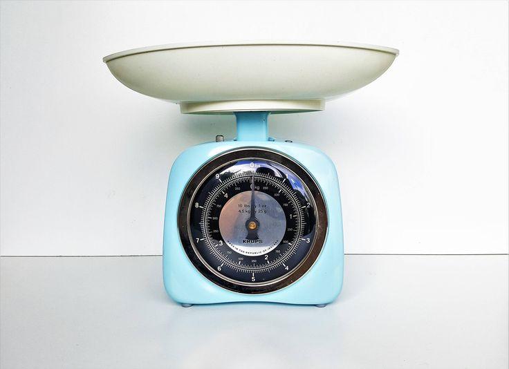 Vintage Scale, Blue Krups Kitchen Weighing Scales, Made in Ireland ROI 1960s, Silver and Black Face with White Bowl Pan, Kitchenalia by darcyelizavintage on Etsy