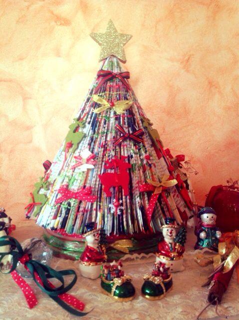 Handmade Christmas tree from magazines
