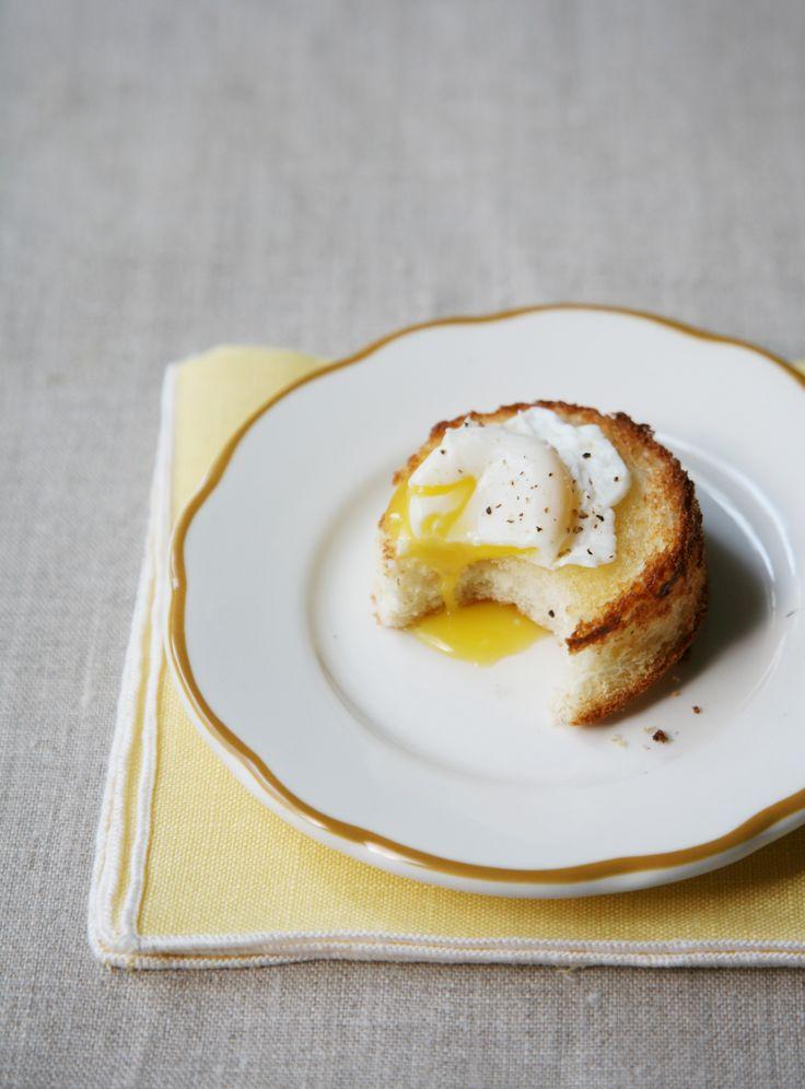 Poached quail egg on toast