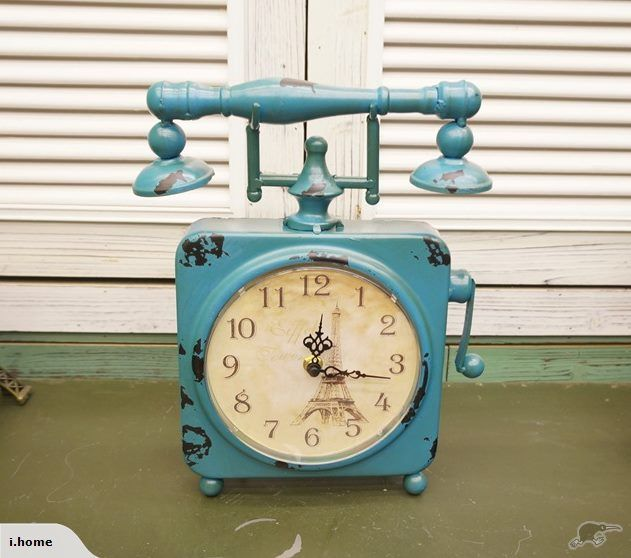 French Country Eiffel Tower Retro Table Clock Blue | Trade Me