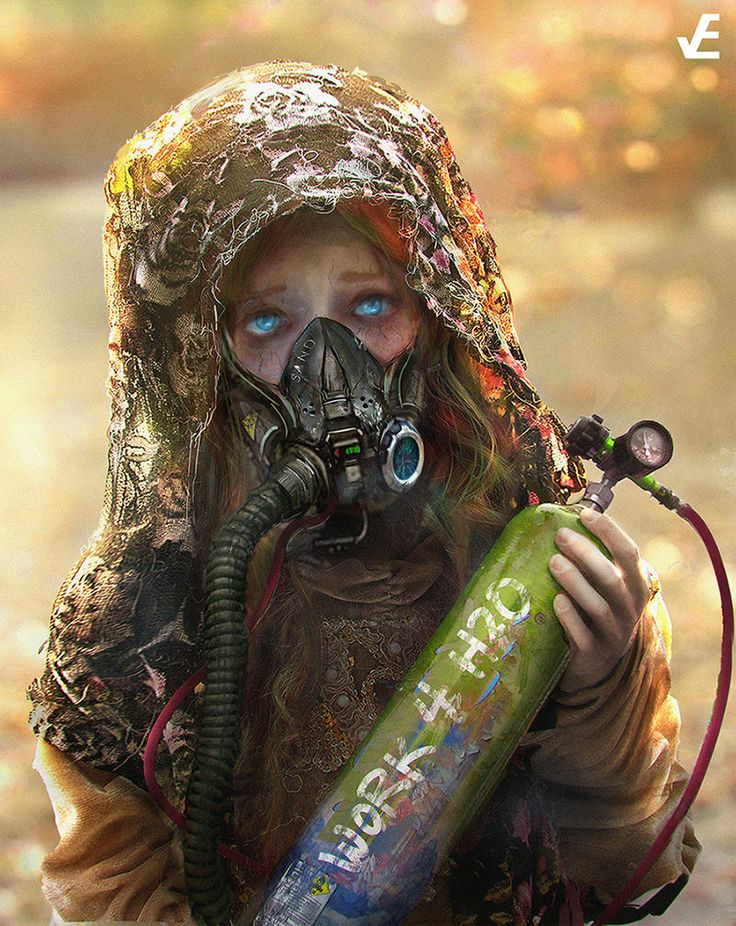 Imagine if your great grandchildren will have to work for oxygen and water in a world YOU polluted. Art by  Wei Huai Xu
