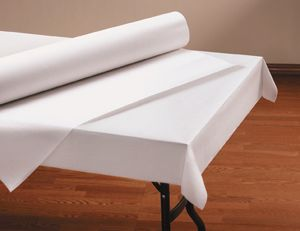 Linen Like Paper Table Cover Rolls   White. A Whole Roll (40in X 100