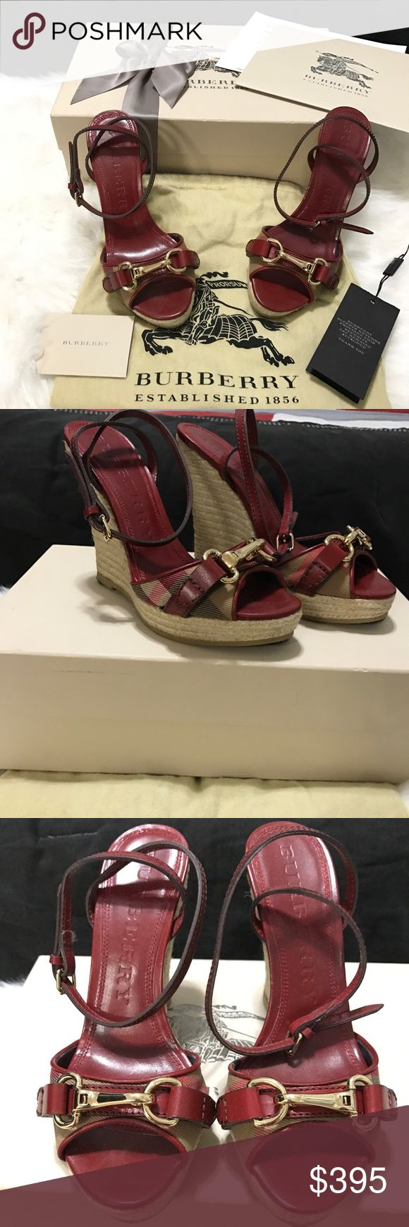 Burberry - Red House Check Espadrilles Authentic! Red Leather Trimming Wrap Around Ankle Closure Buckle Detail Gold Hardware Size 37 - Runs Small In Excellent Condition Includes All Items Photographed: Burberry Red Housecheck Espadrilles Original Shoe Box Two Dustbags Original Receipt Retails: $395 + Tax Reasonable offers welcome! Burberry Shoes Espadrilles