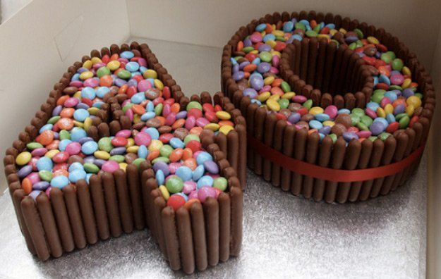 Chocolate and Candy Number Cake   How To Make Number Cakes by DIY Ready at http://diyready.com/number-cakes-diy/