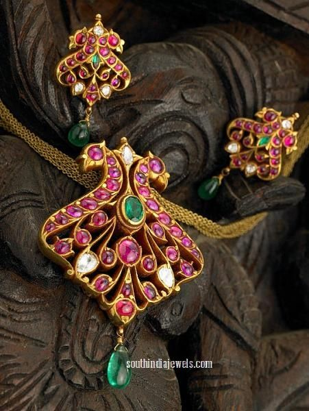 Classic ruby peacock pendant with earrings from Arnav jewellers