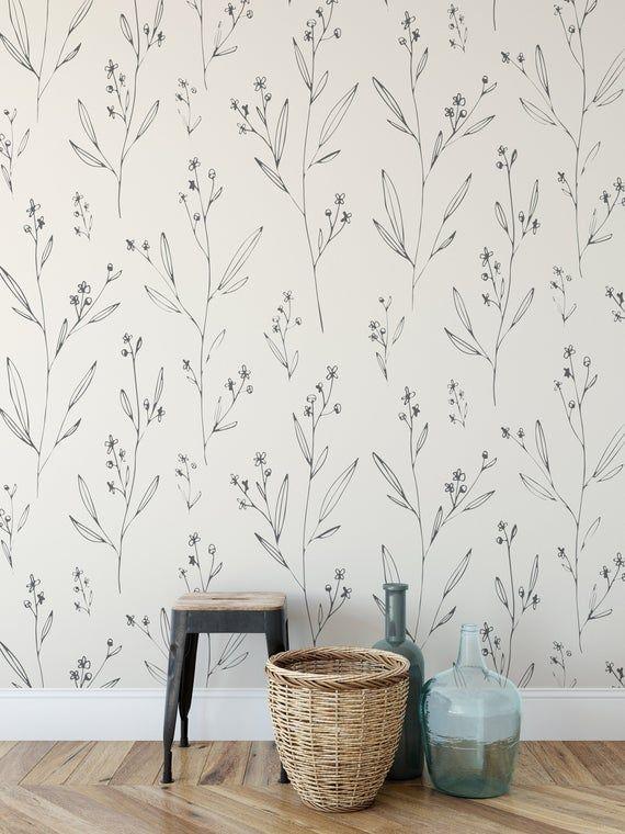 Minimal Modern Wallpaper Removable Wallpaper Peel And Stick Wallpaper Minimal Floral Wallpaper Modern Wallpaper Dining Room Wallpaper Removable Wallpaper