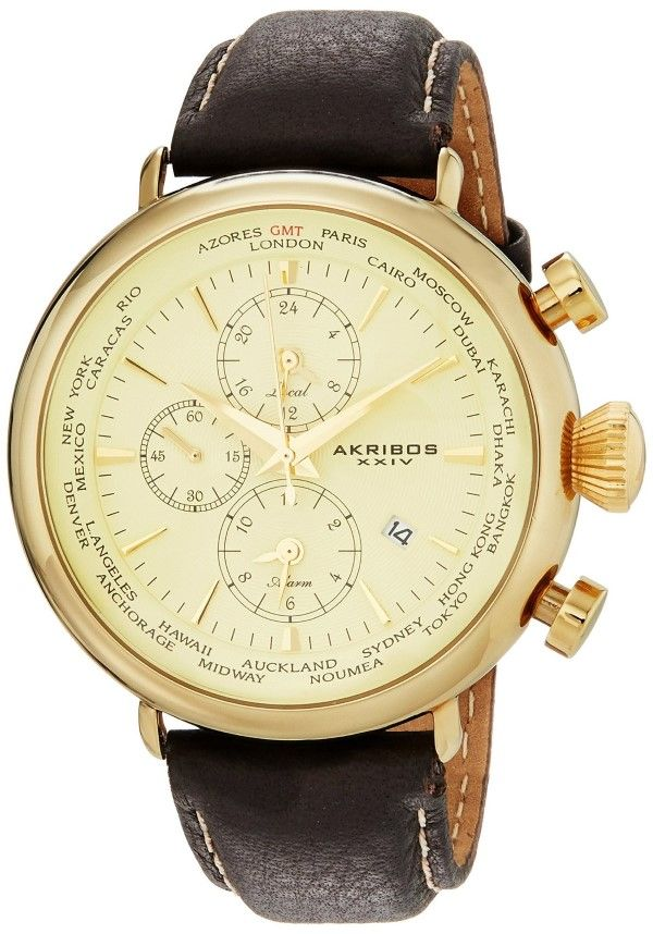 72 best images about akribos watches skeleton gold watches for men akribos xxiv men s ak629yg explorer world time alarm gold tone
