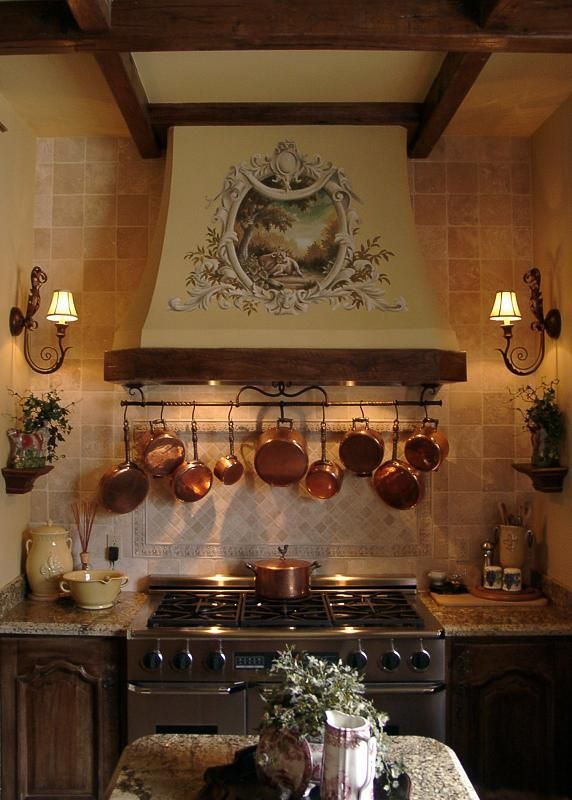 Stylish French Country Kitchen Stove Vent and of course copper- What's not to love about this room.