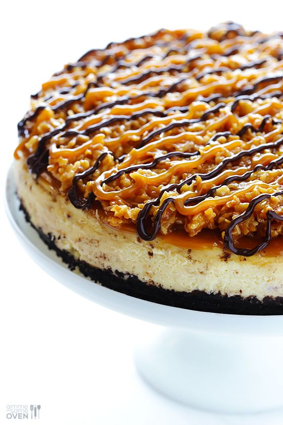 Samoa Cheesecake | 25 Ultimate Ooey Gooey Caramel Dessert Recipes | Dreaming of Leaving |  www.dreamingofleaving.com