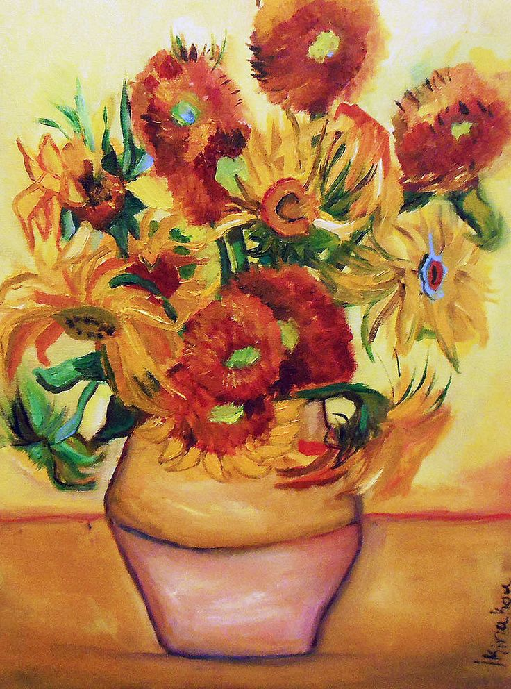 Original painting - Based on Vincent Van Goghs Sunflowers - Oil on canvas - 30 x 40 cm by PapeMoe on Etsy