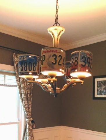 License plate chandelier for a redneck party