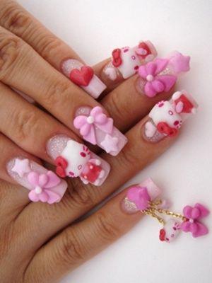 Оформление ногтей 2012 в стиле Hello Kitty