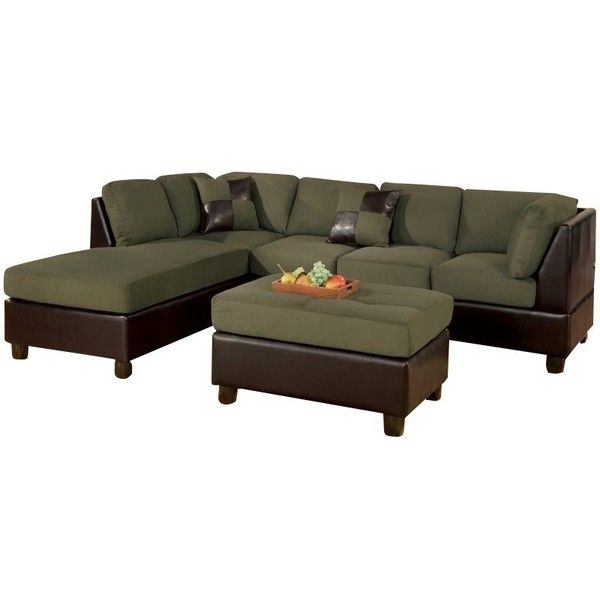Poundex Bobkona Hungtinton Microfiber/Faux Leather 3-Piece Sectional ($1,010) ❤ liked on Polyvore featuring home, furniture, sofas, green, oversized sectionals, microfiber sofa, faux leather couch, plush couch and green couch