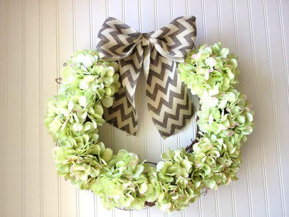 Summer hydrangea wreath with chevron bow. by YourHandmadeWreath