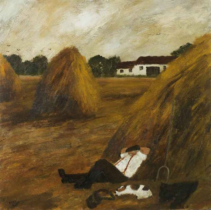 GARY BUNT  Harvest  The farmers very tired | After stacking all the hay | So he settled down | Closed his eyes | And in the stack he lay
