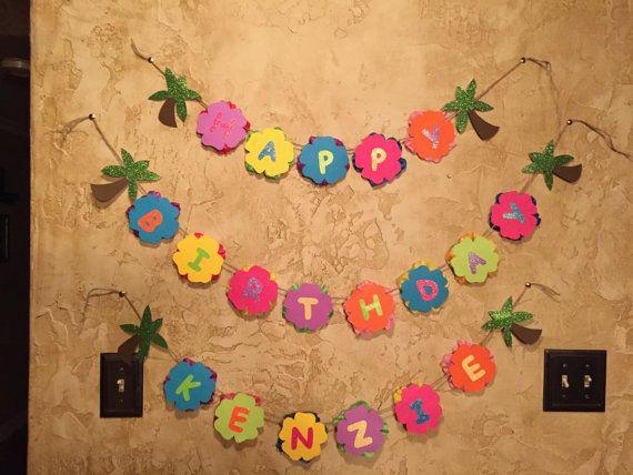 Luau Birthday Banner / Hawaiian Luau Birthday Banner / Luau Birthday decorations / Hawaiian Party decorations / Luau Birthday party banner