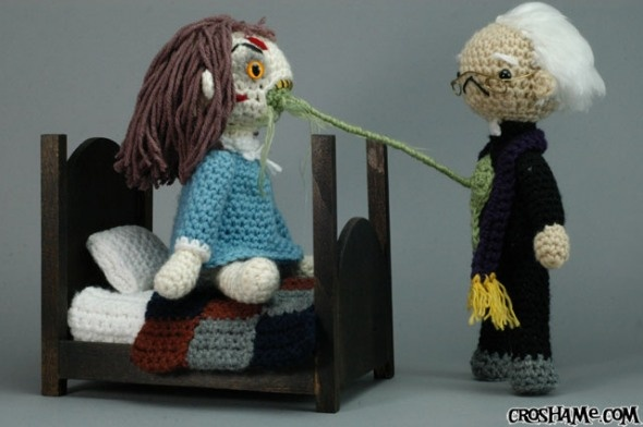 A crocheted Exorcist playset. This is very weird. And sort of funny.