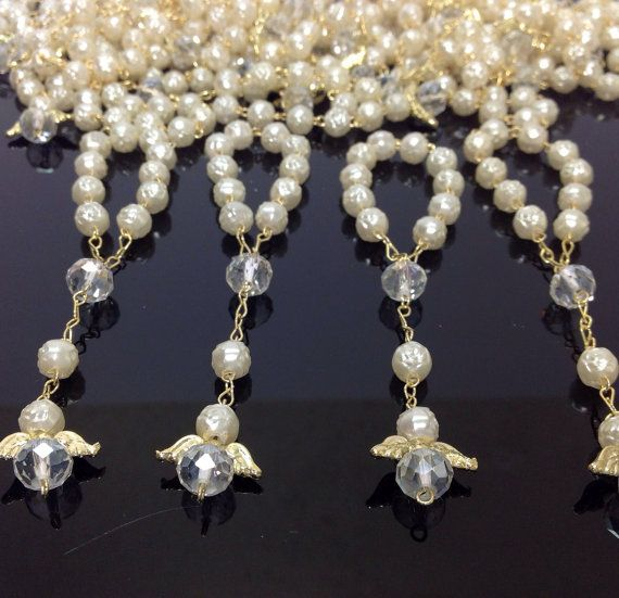 25 pcs Angel Pearl First communion favors Recuerditos Bautizo 25pz/ Mini Pearl Rosary Baptism Favors on Etsy, $18.99