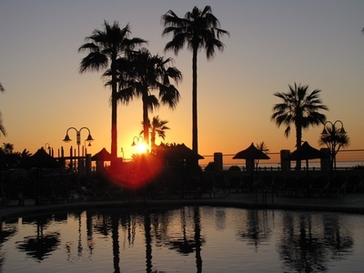Sunrise at Sunset Beach Club in Benalmádena, Spain