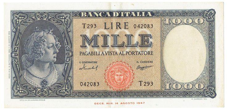 1000 LIRE - 1947 (Medusa) - #scripomarket #scripobanknotes #scripofilia #scripophily #finanza #finance #collezionismo #collectibles #arte #art #scripoart #scripoarte #borsa #stock #azioni #bonds #obbligazioni