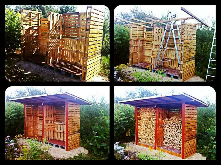 Pallet Firewood Shed #Garden, #PalletShed, #RecycledPallet