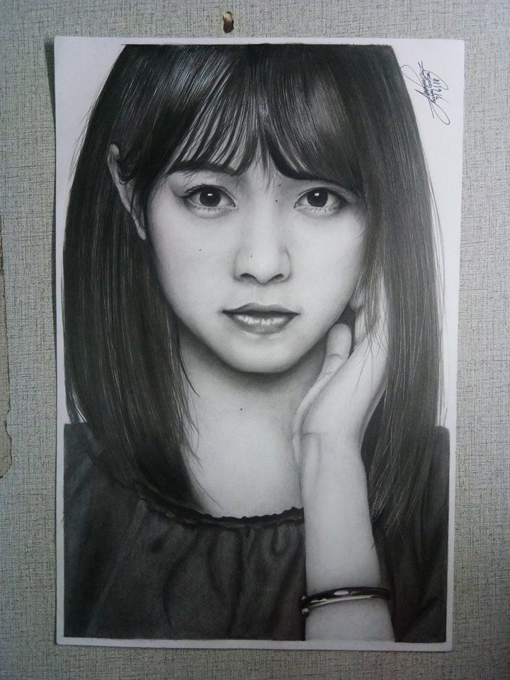 Nishino Nanase (Nogizaka46) on Vellum board 8 1/2 x 13 using