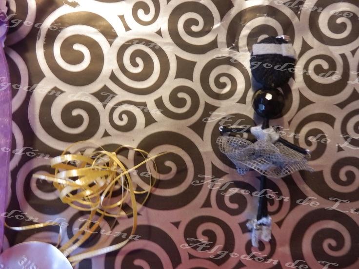 Bailarina de ónixs broche colgante de Algodón de Luna en Gris con nuestra perla