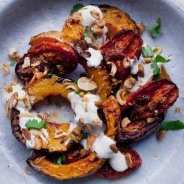 Butternut squash with ginger tomatoes and lime yoghurt