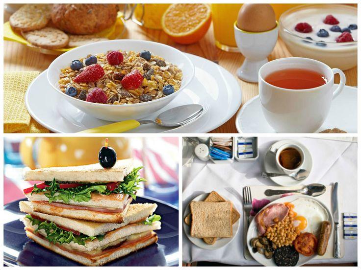 Правильные завтраки разных стран английский завтрак – жареные яйца с беконом, сосиски, помидоры, бобовые, грибы, американский – яйца, хлопья с молоком, тосты, булочки, сок, немецкий – бутерброды с сыром, ветчиной и сосиски, из напитков – чай или сок