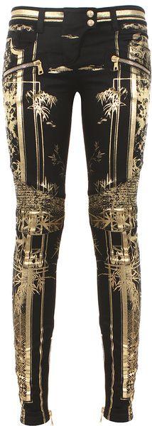 Black and Goldtone Printed Biker Jeans - Lyst