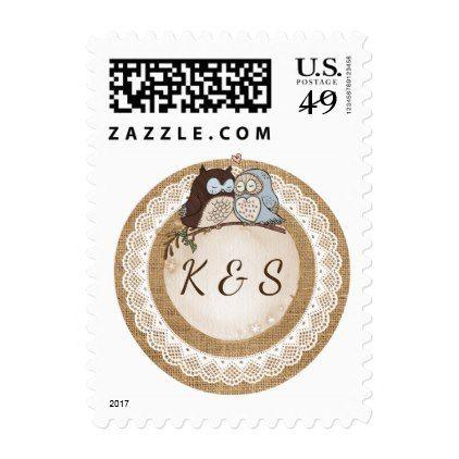 Owl Always Love You Casual Wedding Postage - lace wedding ideas marriage diy cyo customize special
