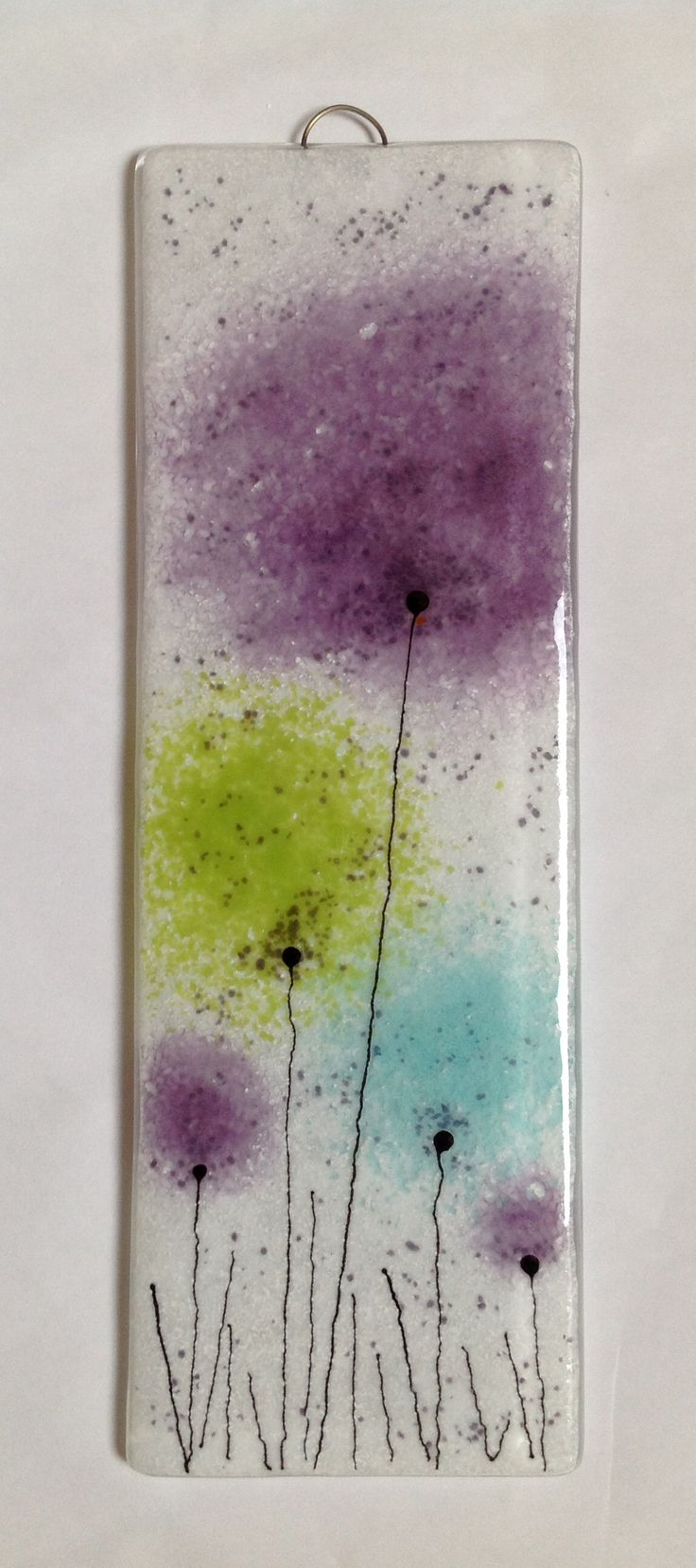 'Frit flowers' fused glass panel Fired Creations