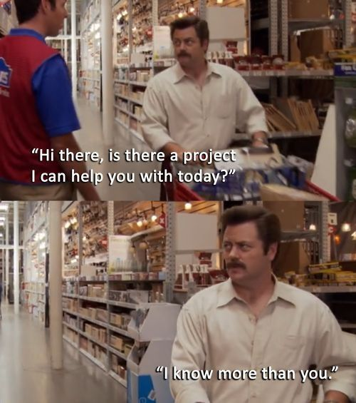 Ron Swanson.Awkward Moments, Crochet Projects, Ron Swanson, Ronswanson, Fabrics Stores, Custom Service, Feelings, Funny Memes, Home Improvements