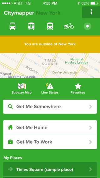 Citymapper iPhone detail views, maps screenshot