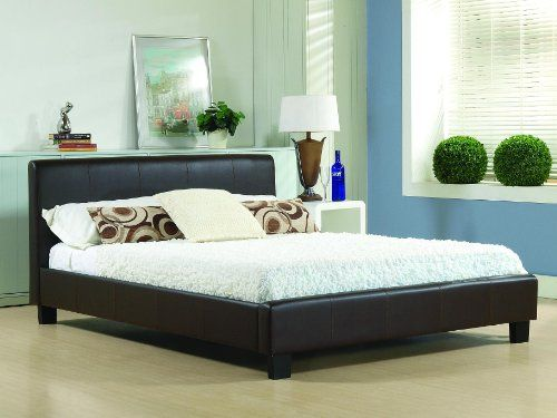 New 6ft Brown Modern Faux Super Kingsize Leather Bed Frame And Slumber Sleep Memory Foam Mattress